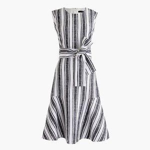 J. CREW Striped Linen Belted Midi Dress